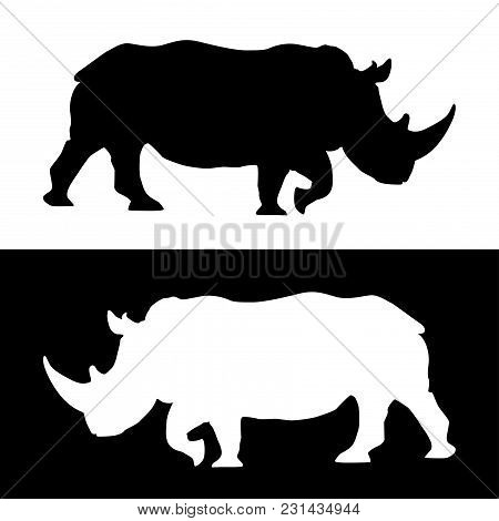 Rhino. Black And White Silhouettes. Vector Illustration Isolated On White Background