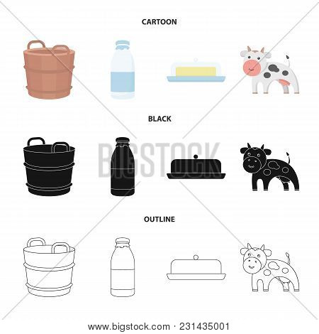 A Barrel Of Milk, Butter, A Cow. Milk Set Collection Icons In Cartoon, Black, Outline Style Vector S