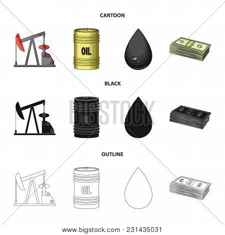 Pump, Barrel, Drop, Petrodollars. Oil Set Collection Icons In Cartoon, Black, Outline Style Vector S