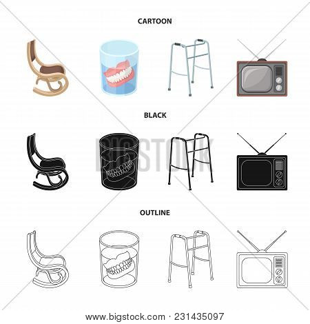 Denture, Rocking Chair, Walker, Old Tv.old Age Set Collection Icons In Cartoon, Black, Outline Style