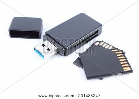 Usb Memory Stick Or Usb Flash Drive And Sd Card Or Micro Sd Isolated On White Background