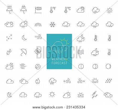 50 High Quality Weather And Forecast Thin Line Icons
