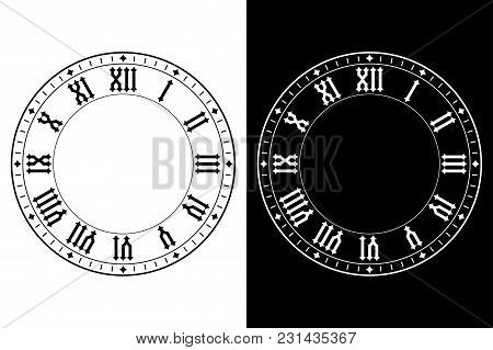 Clock With Roman Numerals. Black And White Vector Illustration