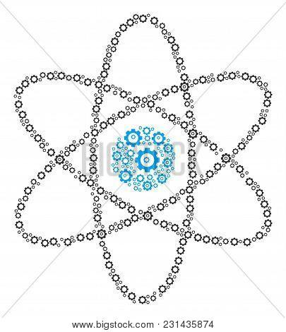 Atom Collage Of Cogwheels. Vector Cogwheel Parts Are Organized Into Atom Figure.