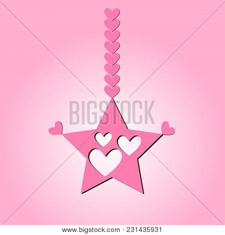 Vector Image A Star Of Pink Color With Cutouts In The Form Of Hearts Hanging On A Rope Of Hearts On