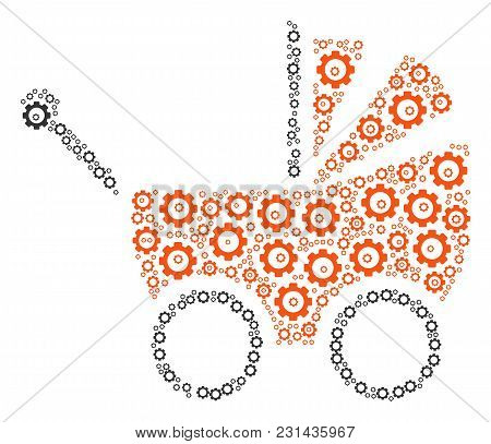 Baby Carriage Composition Of Gears. Vector Cog Wheel Components Are Combined Into Baby Carriage Coll