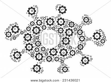 Bacteria Collage Of Cog Wheels. Vector Gearwheel Parts Are Grouped Into Bacteria Figure.