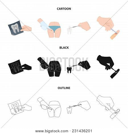 Tooth, X-ray, Instrument, Dentist And Other  Icon In Cartoon, Black, Outline Style. Surgeon, Abscess