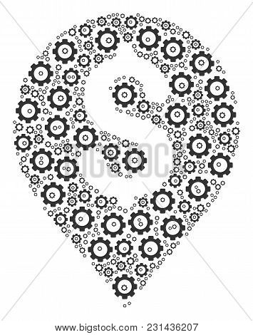 Banking Map Marker Mosaic Of Gear Wheels. Vector Cogwheel Pictograms Are United Into Banking Map Mar