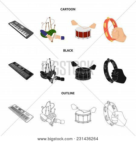 Synthesizer Melodies, Bagpipes Scotch And Other  Icon In Cartoon, Black, Outline Style. Drum, Drum R