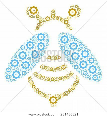 Bee Composition Of Cog Wheels. Vector Gear Wheel Items Are Composed Into Bee Composition.