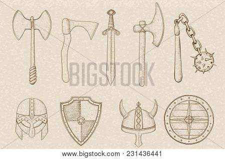 Old Set Of Weapons And Equipment. Hand Drawn Sketch On Beige Background. Vector Illustration