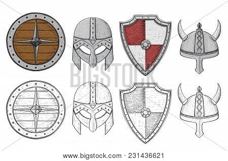 Shields And Helmets. Viking Equipment. Hand Drawn Sketch. Vector Illustration