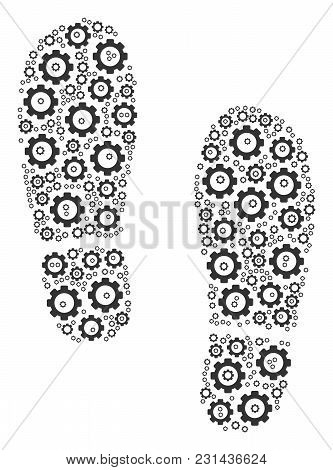 Boot Footprints Mosaic Of Mechanical Wheels. Vector Mechanical Wheel Elements Are Grouped Into Boot