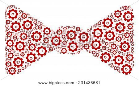 Bow Tie Collage Of Mechanical Wheels. Vector Gearwheel Symbols Are Organized Into Bow Tie Pattern.