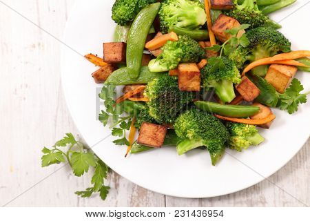 fried tofu and vegetable