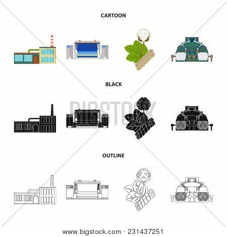 Factory, Enterprise, Buildings And Other  Icon In Cartoon, Black, Outline Style. Textile, Industry,