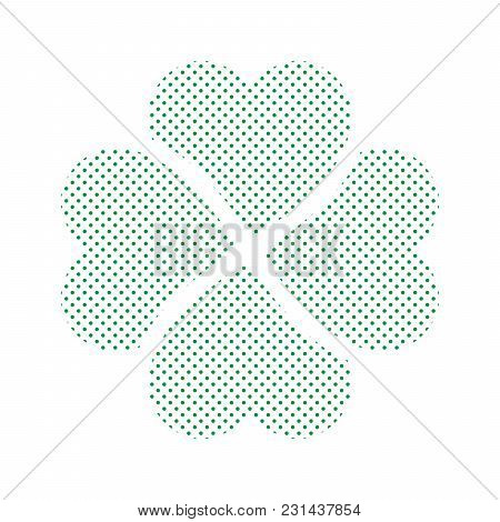 Shamrock - Green Four Leaf Clover Icon. Simple Vector Dotted Shape.