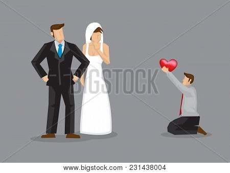 Cartoon Man Kneels Down On Floor And Proposes To Wedding Bride. Vector Illustration On Concept For L