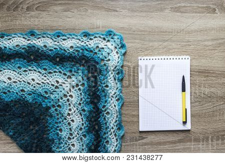 Background Tree Blue Sectional Dyeing Scarf Bactus Crocheted Mohair Merino Wool Acrylic Yarn Notepad