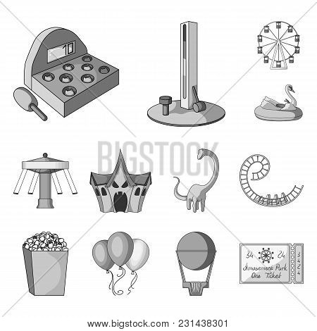 Amusement Park Monochrome Icons In Set Collection For Design. Equipment And Attractions Vector Symbo