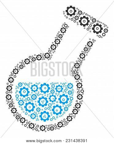 Chemistry Tube Collage Of Cog Wheels. Vector Gear Wheel Symbols Are Composed Into Chemistry Tube Mos