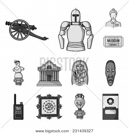 Museum And Gallery Monochrome Icons In Set Collection For Design. Storage And Exhibition Of Showpiec