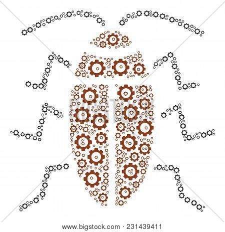 Cockroach Collage Of Tooth Gears. Vector Cog Wheel Pictograms Are Grouped Into Cockroach Composition