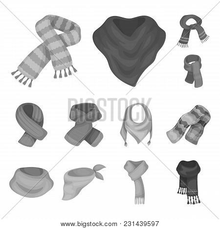 Scarf And Shawl Monochrome Icons In Set Collection For Design.clothes And Accessory Vector Symbol St