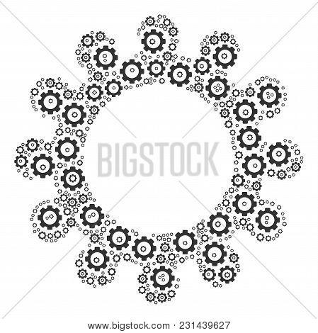 Cog Mosaic Of Cog Wheels. Vector Mechanical Wheel Symbols Are Grouped Into Cog Shape.