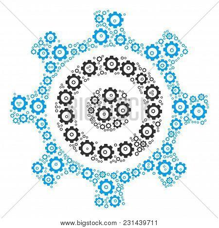 Cogwheel Collage Of Vector Gears. Vector Cogwheel Items Are Composed Into Cogwheel Collage.