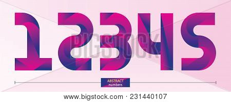 Vector Graphic Numbers In A Set 1,2,3,4,5, With Purple Color Geometric Style
