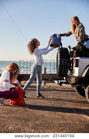 Young adult girlfriends unloading luggage from car, vertical