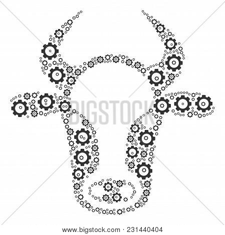 Cow Head Composition Of Cogs. Vector Mechanical Wheel Icons Are Organized Into Cow Head Composition.