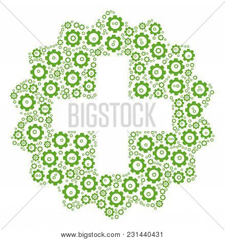 Create Composition Of Cogs. Vector Cog Pictograms Are United Into Create Mosaic.