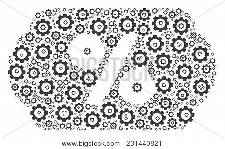Discount Coupon Composition Of Tooth Gears. Vector Gear Objects Are Composed Into Discount Coupon Mo