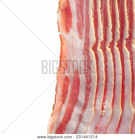 Pieces of bacon on a white background