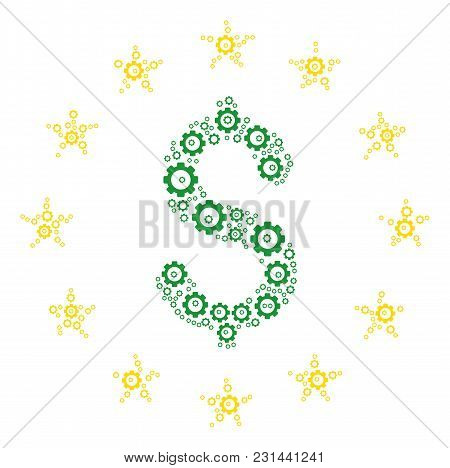 Dollar Stars Mosaic Of Gear Wheels. Vector Cog Wheel Pictograms Are Organized Into Dollar Stars Comp