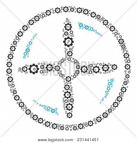 Drone Screw Rotation Collage Of Cogwheels. Vector Cogwheel Items Are Organized Into Drone Screw Rota