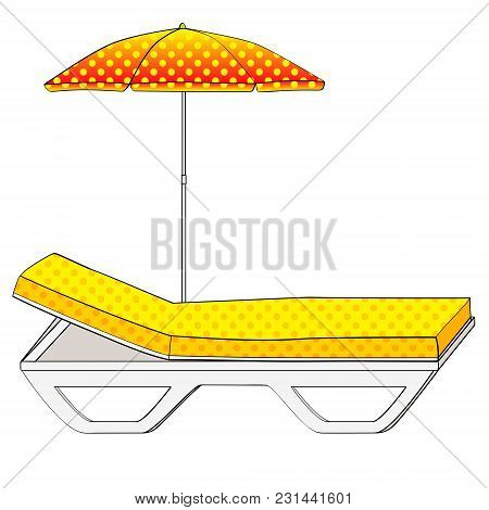 Deck Chair Under An Umbrella On Sandy Beach. Object On A White Background. Vintage Retro Style. Conc