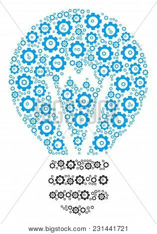 Electric Bulb Mosaic Of Mechanical Wheels. Vector Gearwheel Objects Are Composed Into Electric Bulb