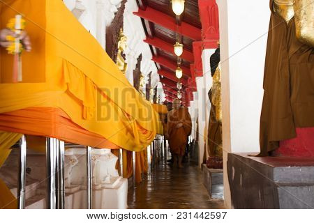 Monk And Thai People Doing Ceremony Fabric Blanket Cover Chedi And Relics Wat Phra Mahathat Woramaha