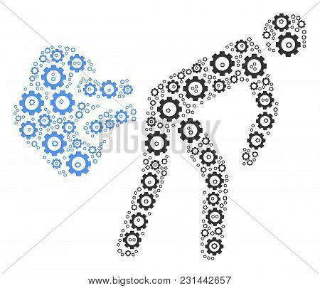 Fart Gases Mosaic Of Cog Wheels. Vector Cogwheel Components Are Combined Into Fart Gases Illustratio
