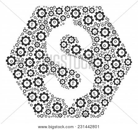 Finance Composition Of Gearwheels. Vector Gearwheel Symbols Are Composed Into Finance Figure.