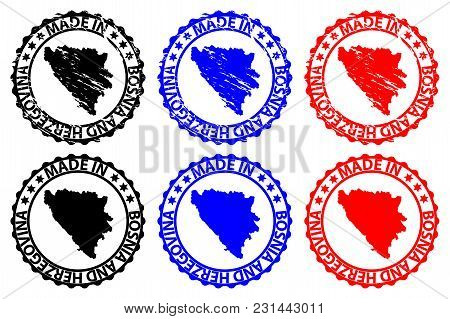 Made In Bosnia And Herzegovina - Rubber Stamp - Vector, Bosnia And Herzegovina Map Pattern - Black,b