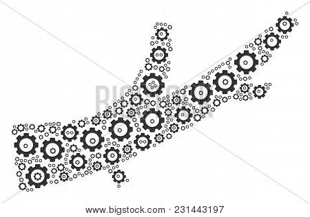Firewood Mosaic Of Vector Gears. Vector Cog Objects Are Combined Into Firewood Illustration.
