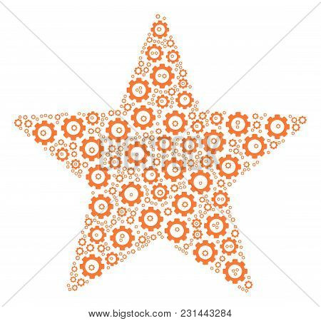 Fireworks Star Mosaic Of Gears. Vector Gearwheel Pictograms Are Grouped Into Fireworks Star Pattern.
