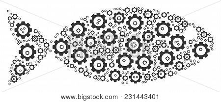 Fish Composition Of Cogs. Vector Gearwheel Items Are Combined Into Fish Composition.