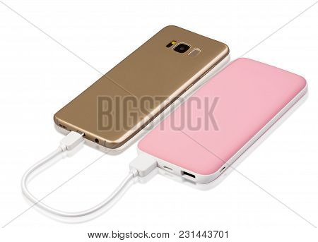 Portable White And Pink Combination External Power Bank With Data Cable To Charge Your Phone In Emer