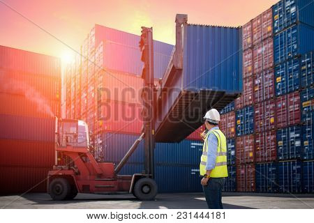 Foreman Control Loading Containers Box From Cargo Freight Ship For Import Export
